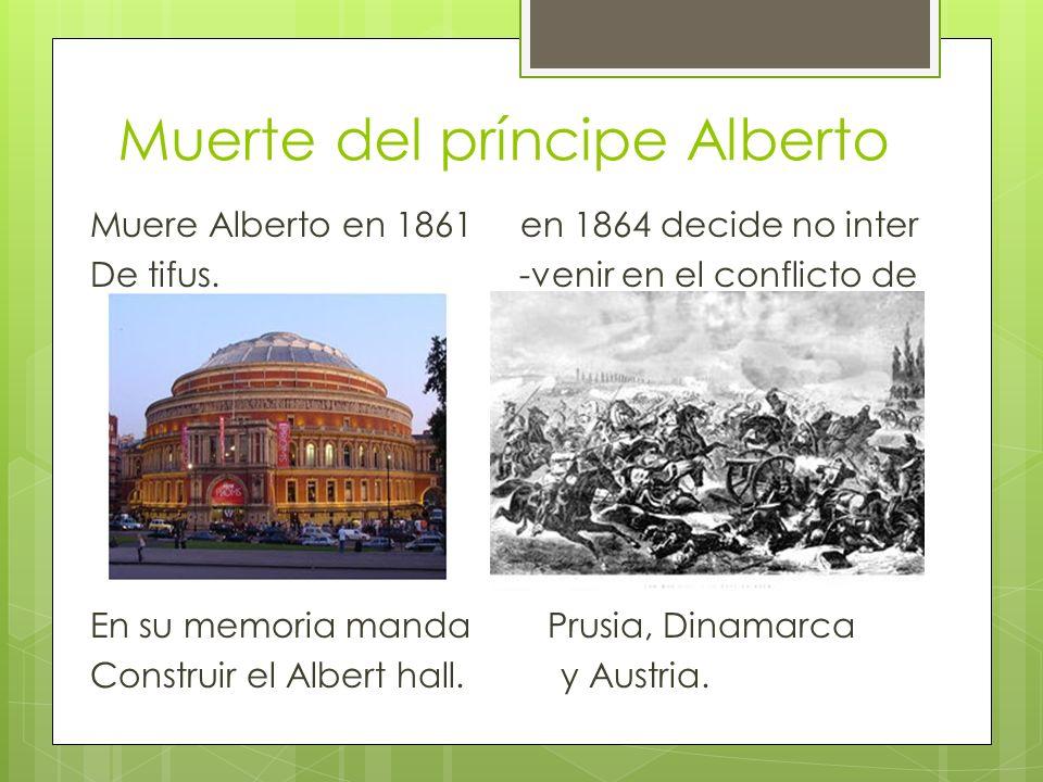 Muerte del príncipe Alberto Muere Alberto en 1861 en 1864 decide no inter De tifus.