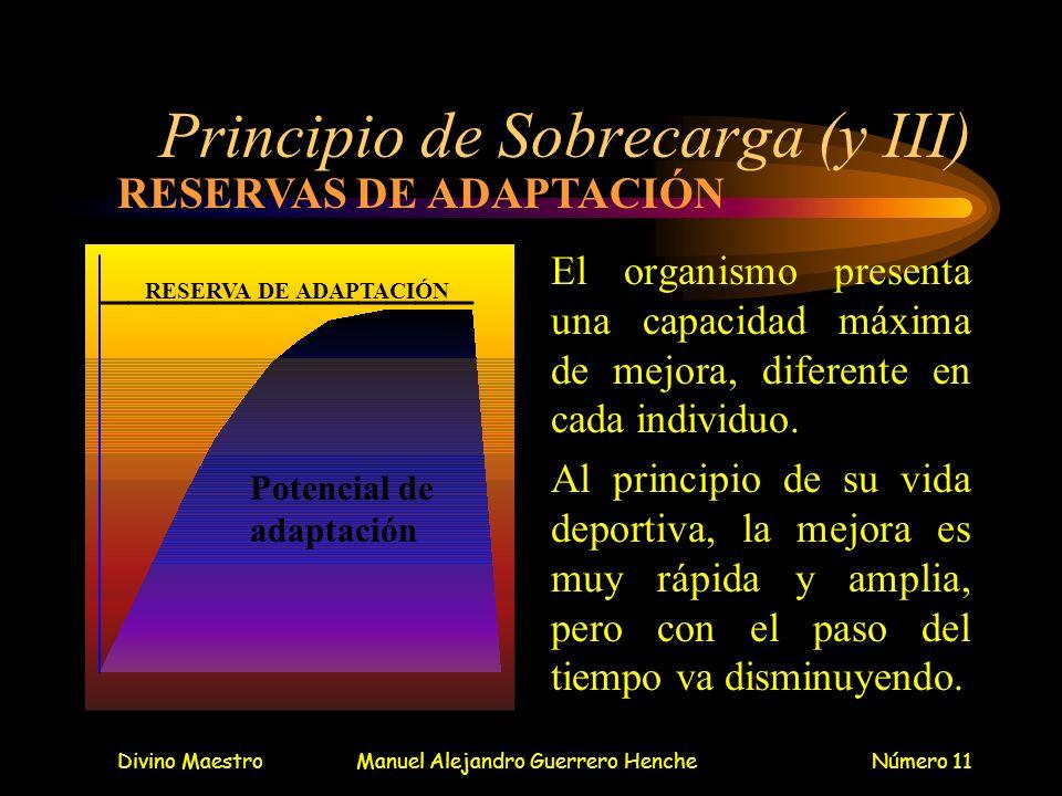 Divino MaestroManuel Alejandro Guerrero HencheNúmero 11 Principio de Sobrecarga (y III) El organismo presenta una capacidad máxima de mejora, diferent