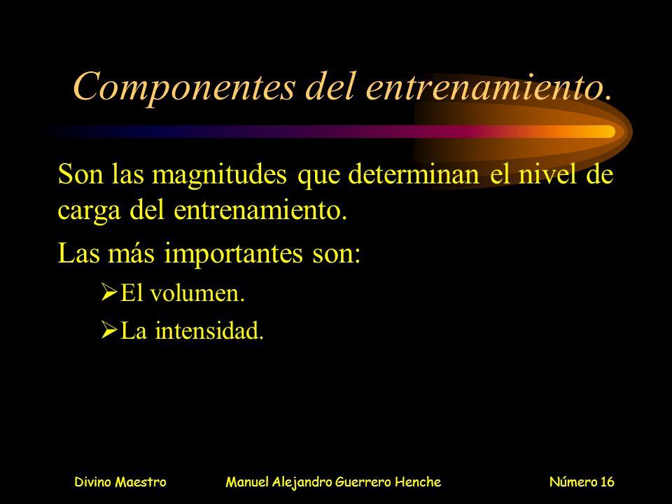 Divino MaestroManuel Alejandro Guerrero HencheNúmero 16 Componentes del entrenamiento. Son las magnitudes que determinan el nivel de carga del entrena