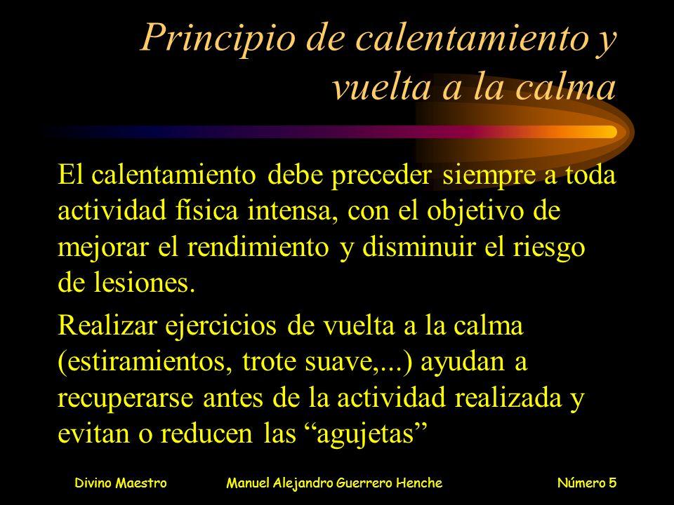 Divino MaestroManuel Alejandro Guerrero HencheNúmero 5 Principio de calentamiento y vuelta a la calma El calentamiento debe preceder siempre a toda ac