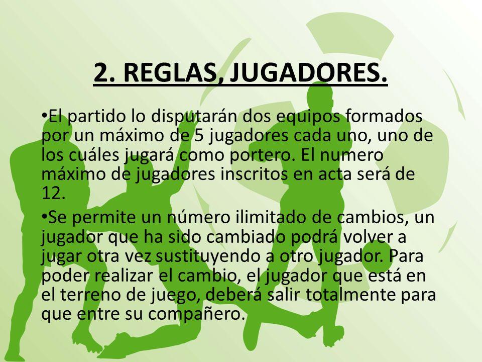 2. REGLAS, JUGADORES. El partido lo disputarán dos equipos formados por un máximo de 5 jugadores cada uno, uno de los cuáles jugará como portero. El n
