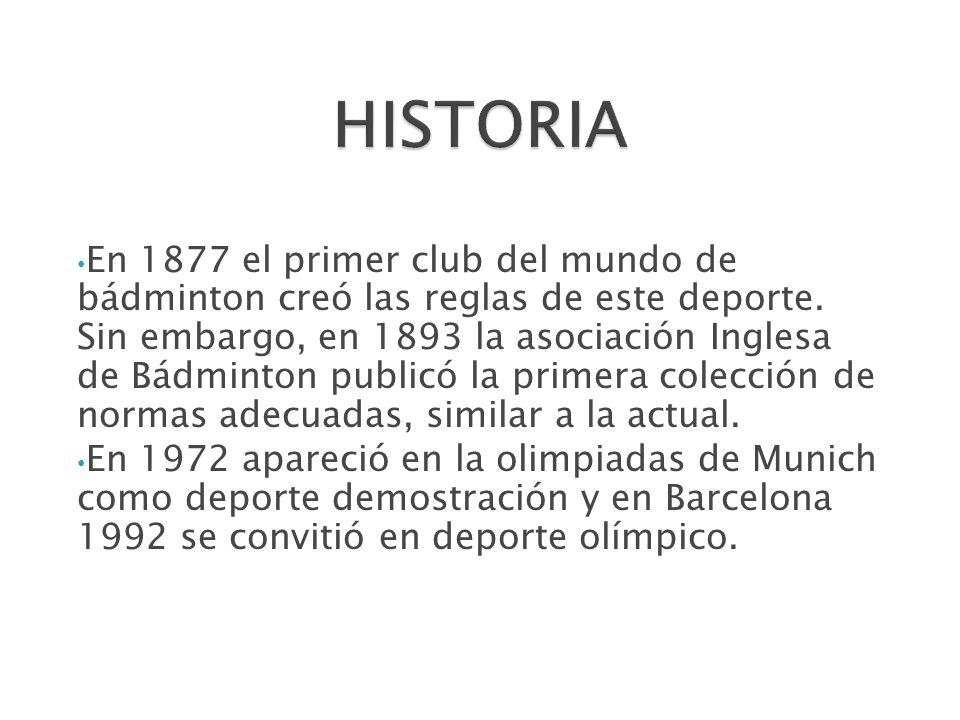 En 1877 el primer club del mundo de bádminton creó las reglas de este deporte. Sin embargo, en 1893 la asociación Inglesa de Bádminton publicó la prim