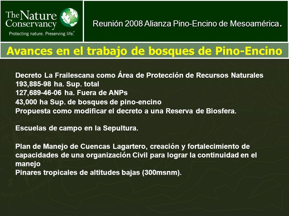 Avances en el trabajo de bosques de Pino-Encino Decreto La Frailescana como Área de Protección de Recursos Naturales 193,885-98 ha. Sup. total 127,689