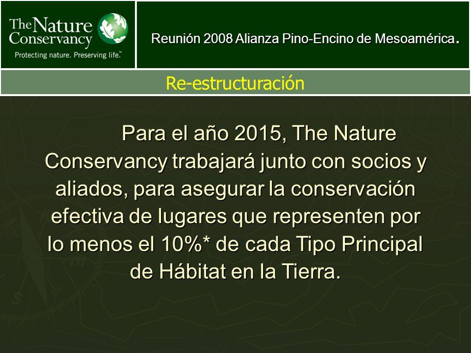 Reunión 2008 Alianza Pino-Encino de Mesoamérica. Re-estructuración Para el año 2015, The Nature Conservancy trabajará junto con socios y aliados, para
