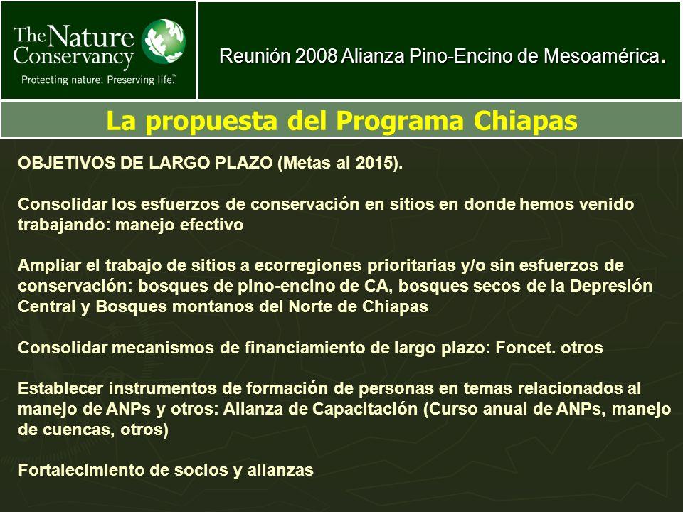 Reunión 2008 Alianza Pino-Encino de Mesoamérica. La propuesta del Programa Chiapas OBJETIVOS DE LARGO PLAZO (Metas al 2015). Consolidar los esfuerzos
