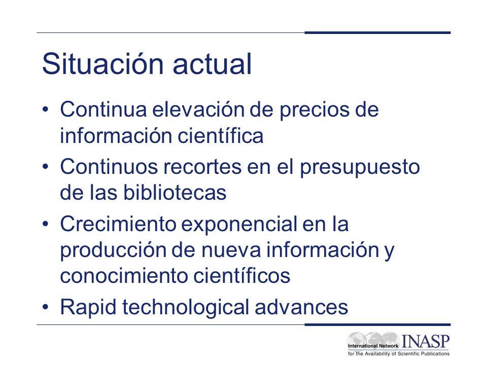Situación actual Continua elevación de precios de información científica Continuos recortes en el presupuesto de las bibliotecas Crecimiento exponencial en la producción de nueva información y conocimiento científicos Rapid technological advances