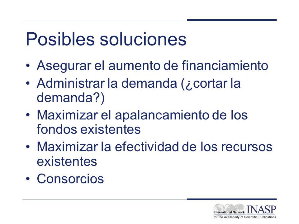 Posibles soluciones Asegurar el aumento de financiamiento Administrar la demanda (¿cortar la demanda ) Maximizar el apalancamiento de los fondos existentes Maximizar la efectividad de los recursos existentes Consorcios
