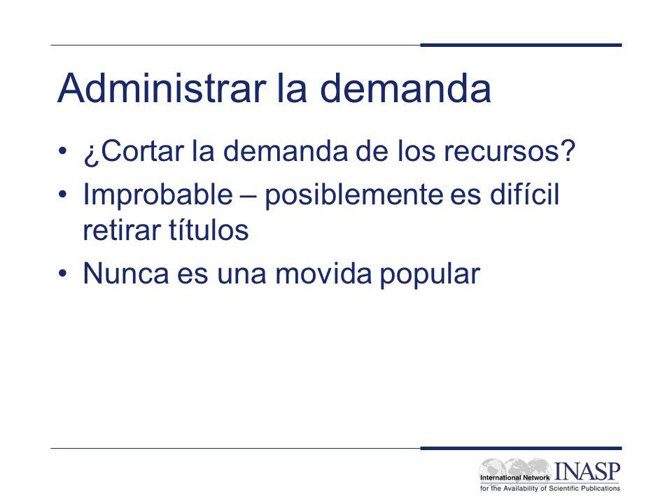 Administrar la demanda ¿Cortar la demanda de los recursos.