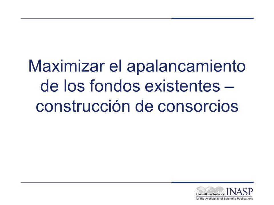 Maximizar el apalancamiento de los fondos existentes – construcción de consorcios