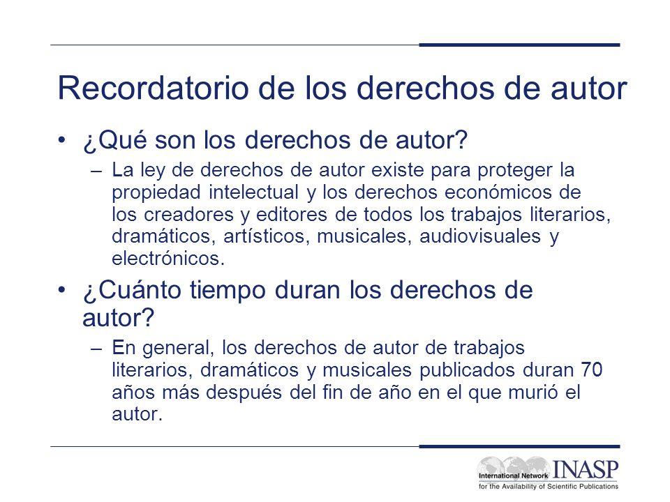 Recordatorio de los derechos de autor ¿Qué son los derechos de autor.