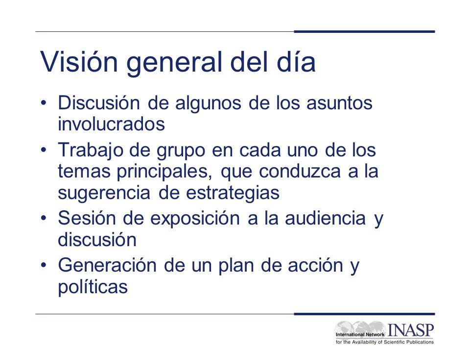 Visión general del día Discusión de algunos de los asuntos involucrados Trabajo de grupo en cada uno de los temas principales, que conduzca a la suger