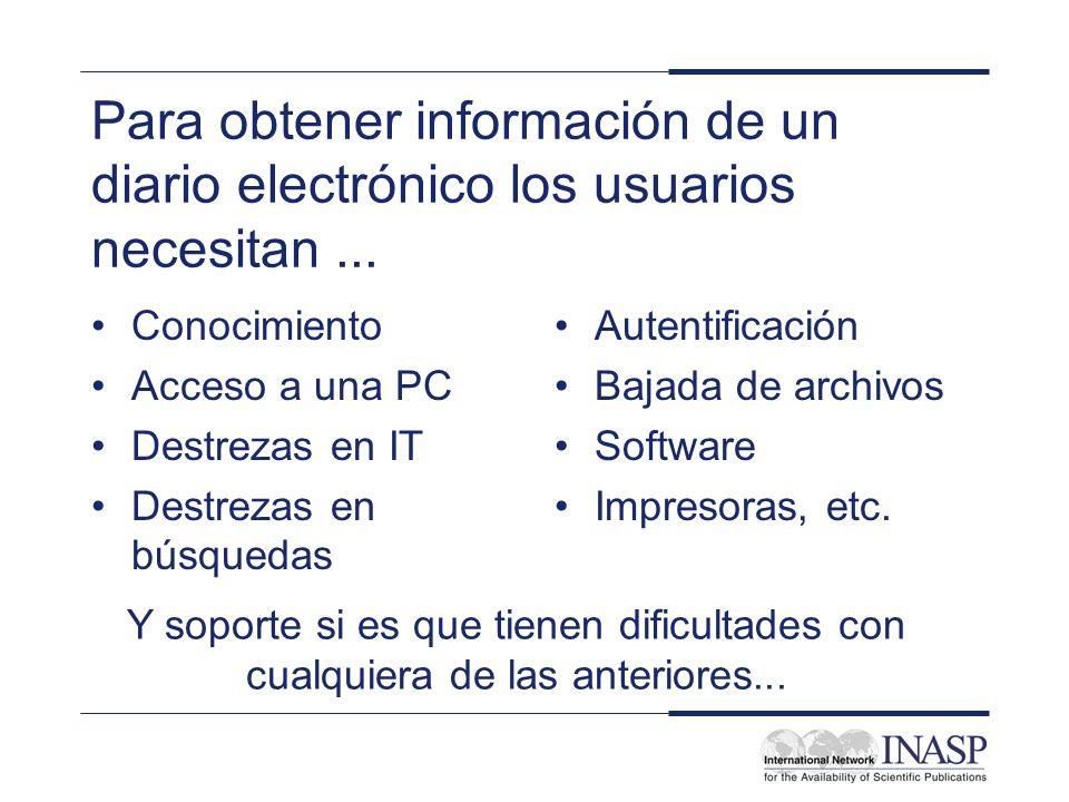 Para obtener información de un diario electrónico los usuarios necesitan... Conocimiento Acceso a una PC Destrezas en IT Destrezas en búsquedas Autent