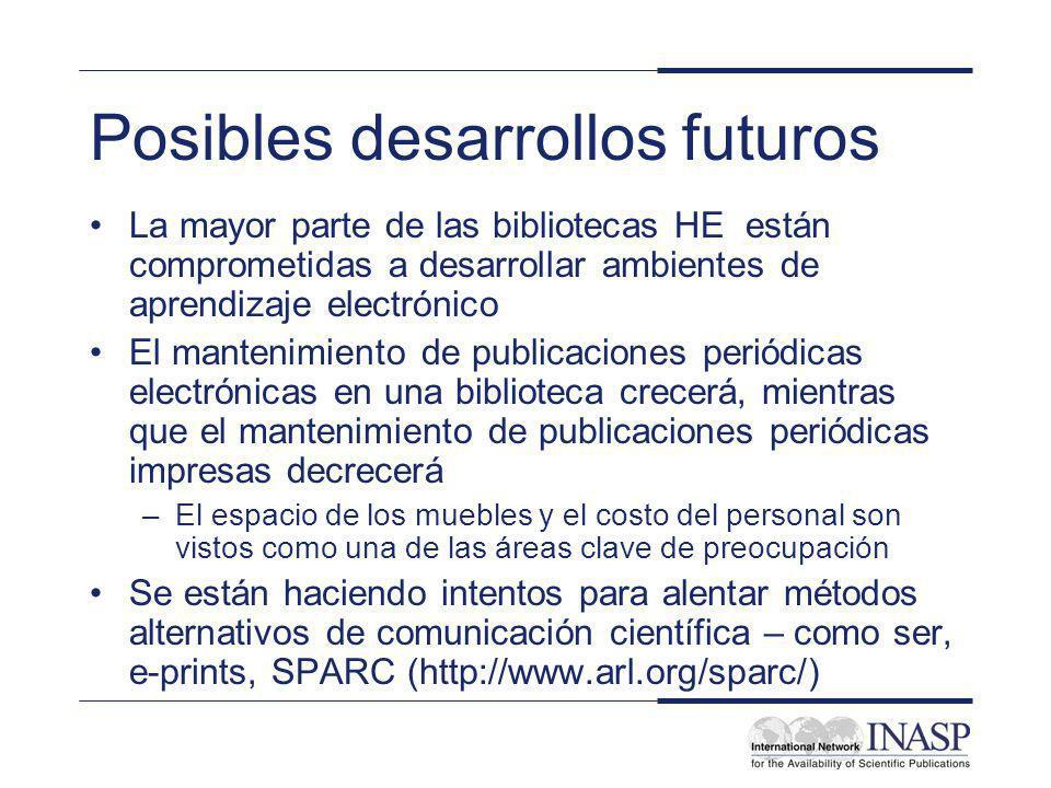Posibles desarrollos futuros La mayor parte de las bibliotecas HE están comprometidas a desarrollar ambientes de aprendizaje electrónico El mantenimie