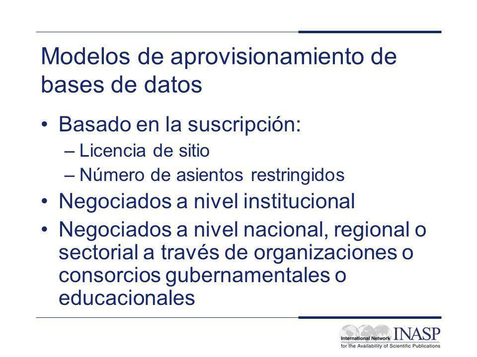 Modelos de aprovisionamiento de bases de datos Basado en la suscripción: –Licencia de sitio –Número de asientos restringidos Negociados a nivel instit