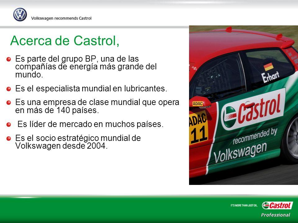 3 Acerca de Castrol, Es parte del grupo BP, una de las compañías de energía más grande del mundo. Es el especialista mundial en lubricantes. Es una em