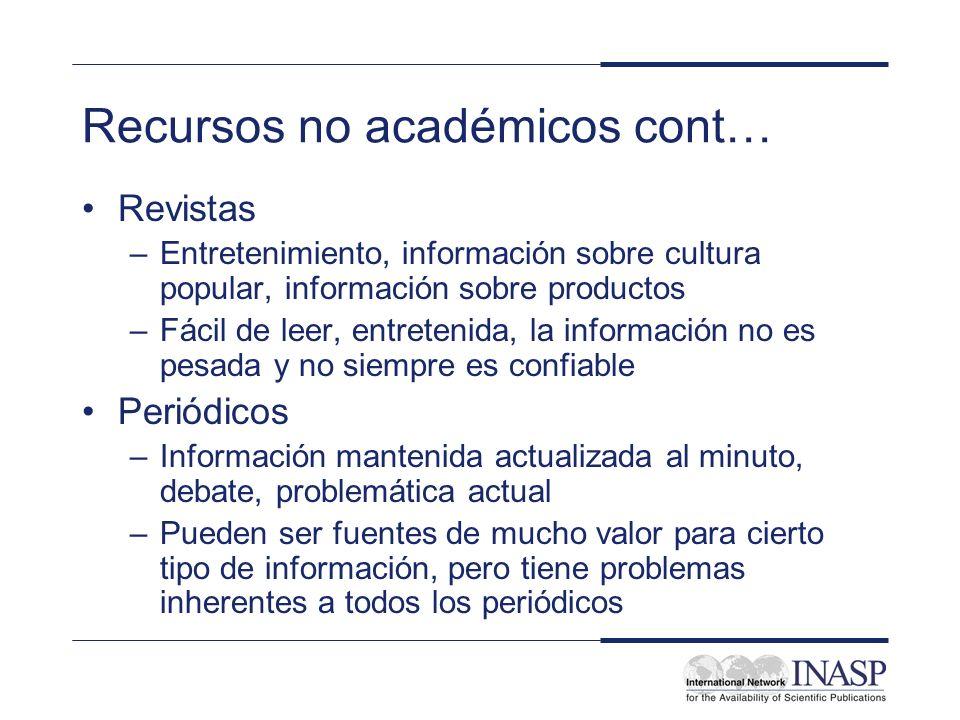 Recursos no académicos cont… Revistas –Entretenimiento, información sobre cultura popular, información sobre productos –Fácil de leer, entretenida, la