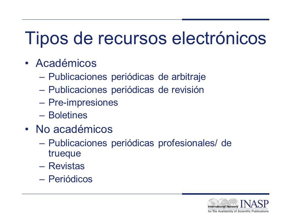 Tipos de recursos electrónicos Académicos –Publicaciones periódicas de arbitraje –Publicaciones periódicas de revisión –Pre-impresiones –Boletines No