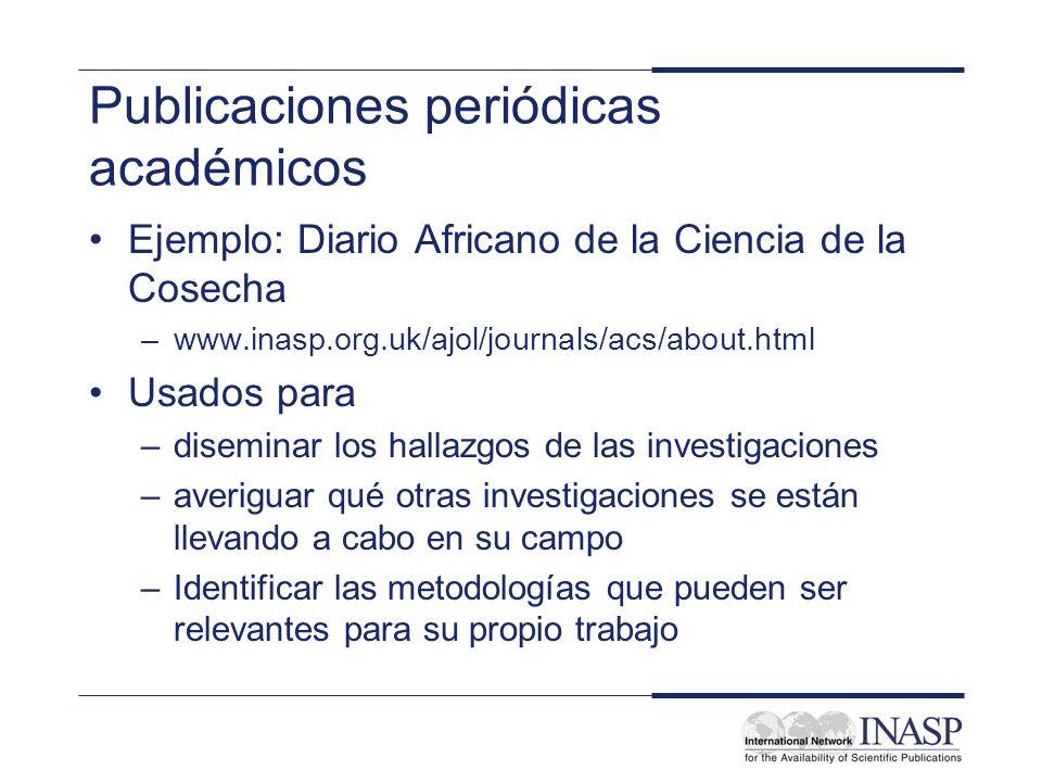 Publicaciones periódicas académicos Ejemplo: Diario Africano de la Ciencia de la Cosecha –www.inasp.org.uk/ajol/journals/acs/about.html Usados para –d