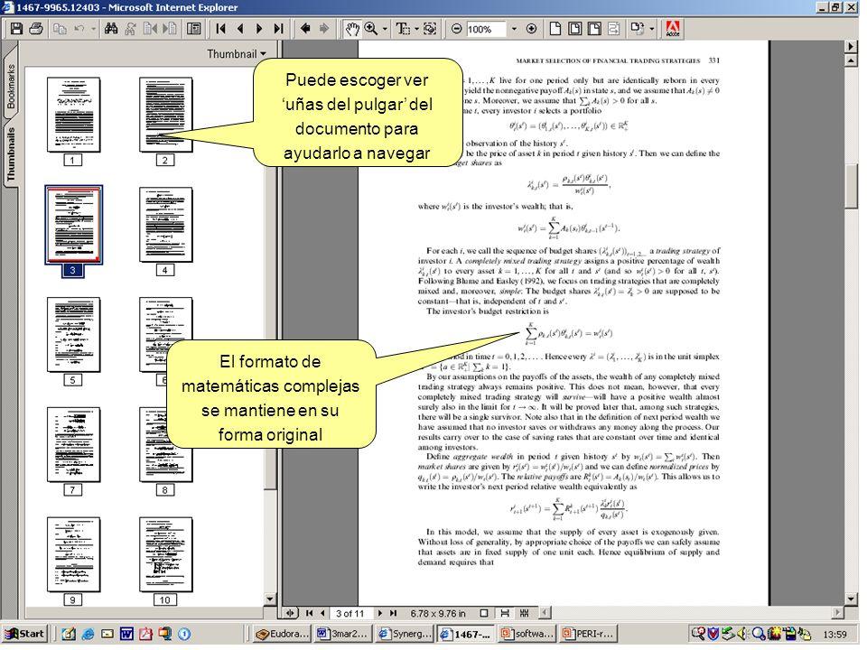 Puede escoger ver uñas del pulgar del documento para ayudarlo a navegar El formato de matemáticas complejas se mantiene en su forma original