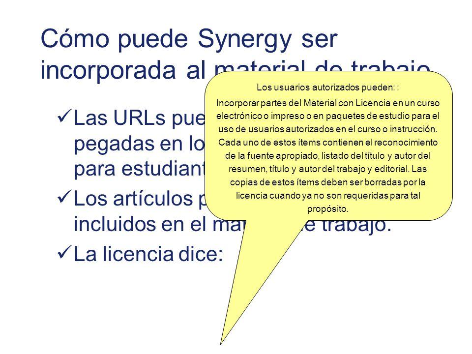 Cómo puede Synergy ser incorporada al material de trabajo Las URLs pueden ser copiadas y pegadas en los correos electrónicos para estudiantes.