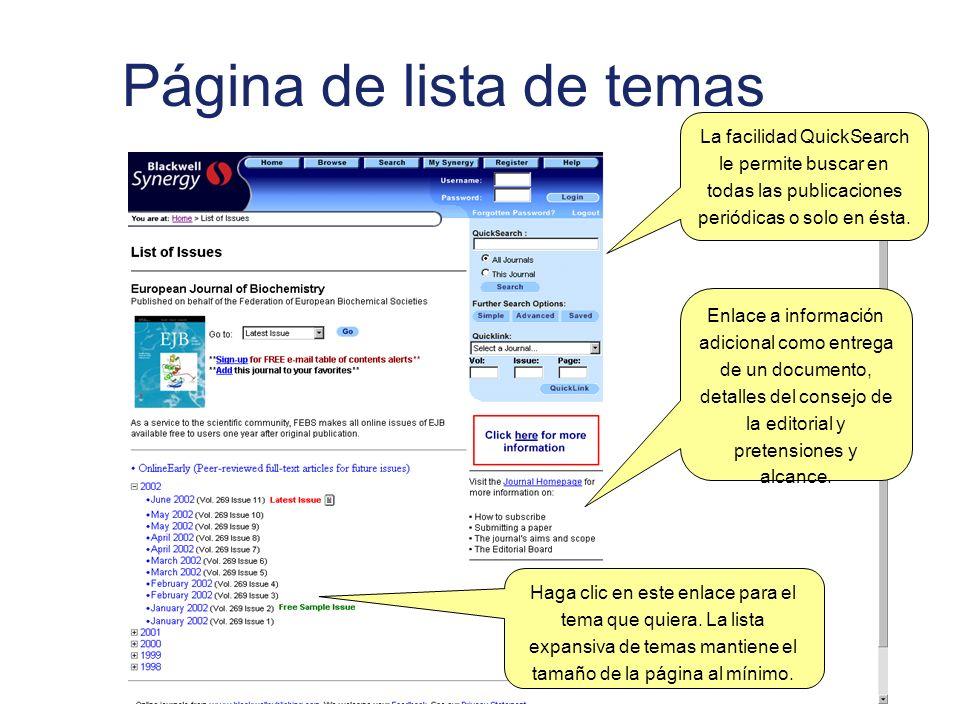 Página de lista de temas La facilidad QuickSearch le permite buscar en todas las publicaciones periódicas o solo en ésta.