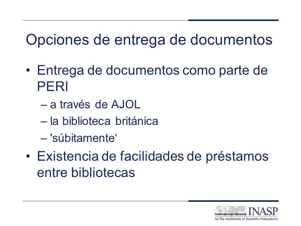 Opciones de entrega de documentos Entrega de documentos como parte de PERI –a través de AJOL –la biblioteca británica – súbitamente Existencia de facilidades de préstamos entre bibliotecas