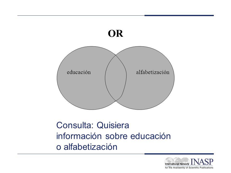 OR educaciónalfabetización Consulta: Quisiera información sobre educación o alfabetización