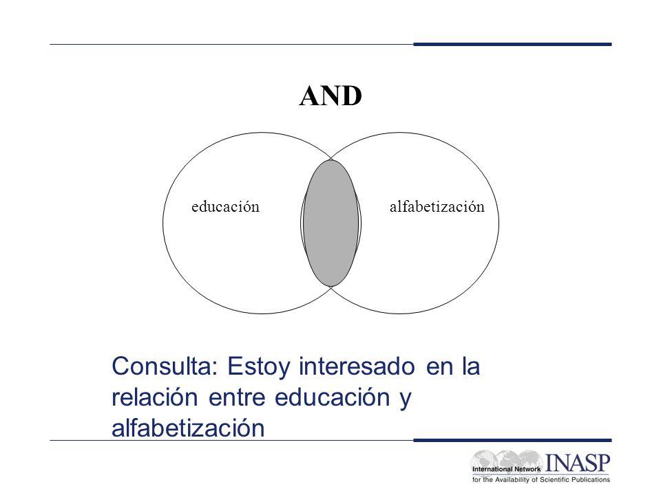 AND Consulta: Estoy interesado en la relación entre educación y alfabetización educaciónalfabetización