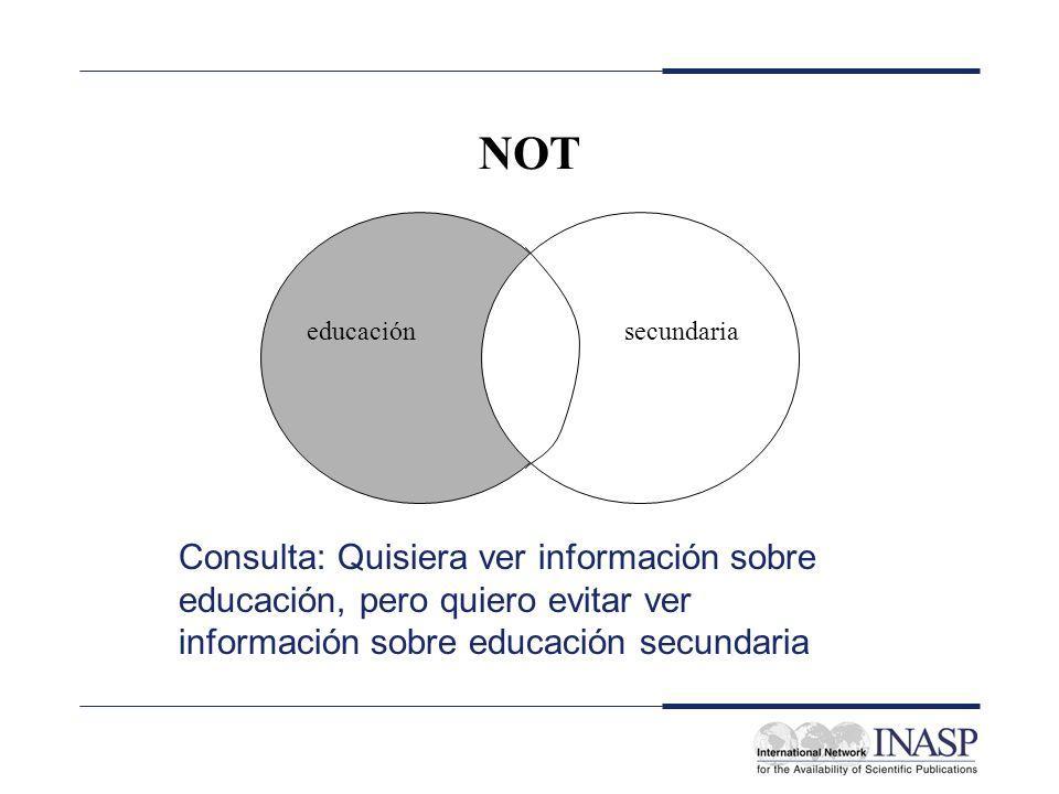 NOT Consulta: Quisiera ver información sobre educación, pero quiero evitar ver información sobre educación secundaria educaciónsecundaria