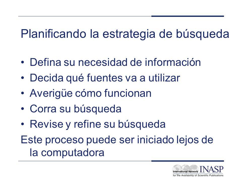 Defina su necesidad de información ¿Qué tipo de información está buscando.