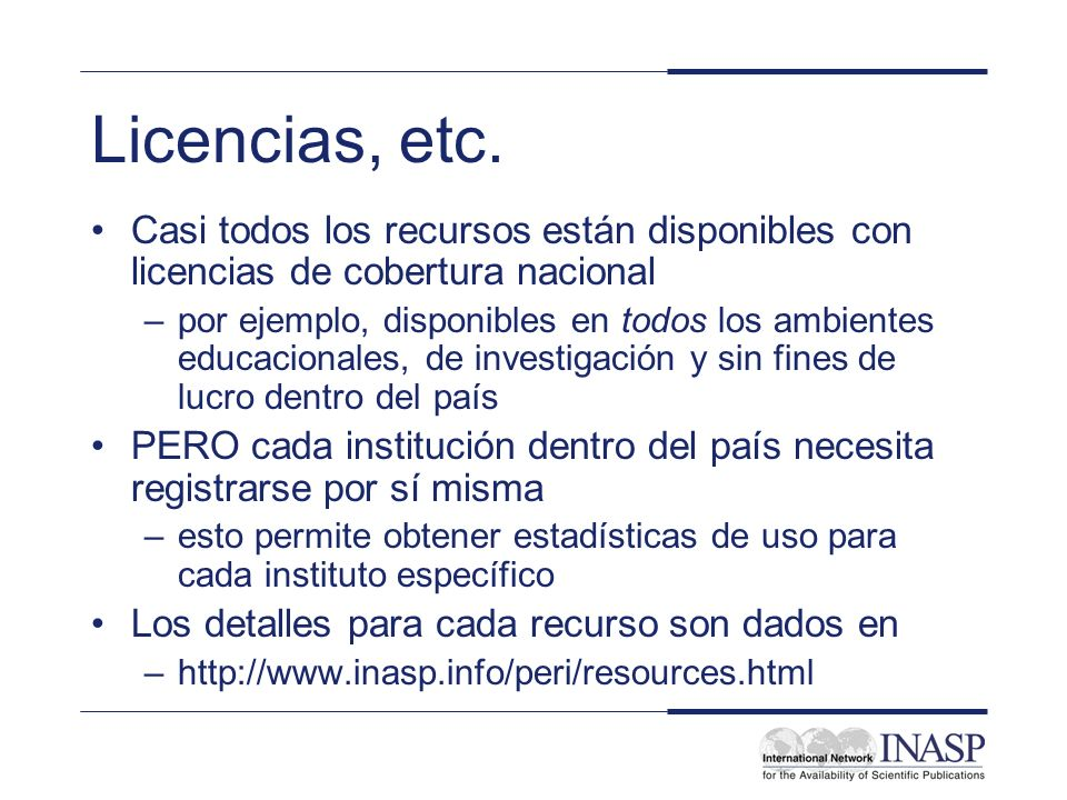 Licencias, etc.