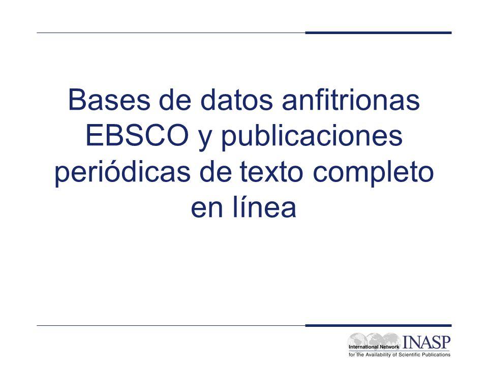 Editorial: EBSCO Nombre del servicio: Anfitrión EBSCO Cobertura de la licencia: nacional para todas las bibliotecas sin fines de lucro, institutos de investigación y aprendizaje dentro del Tipo de servicio: bases de datos en línea de publicaciones periódicas y otro contenido aprendido (hay disponibles CDs para todos los institutos)