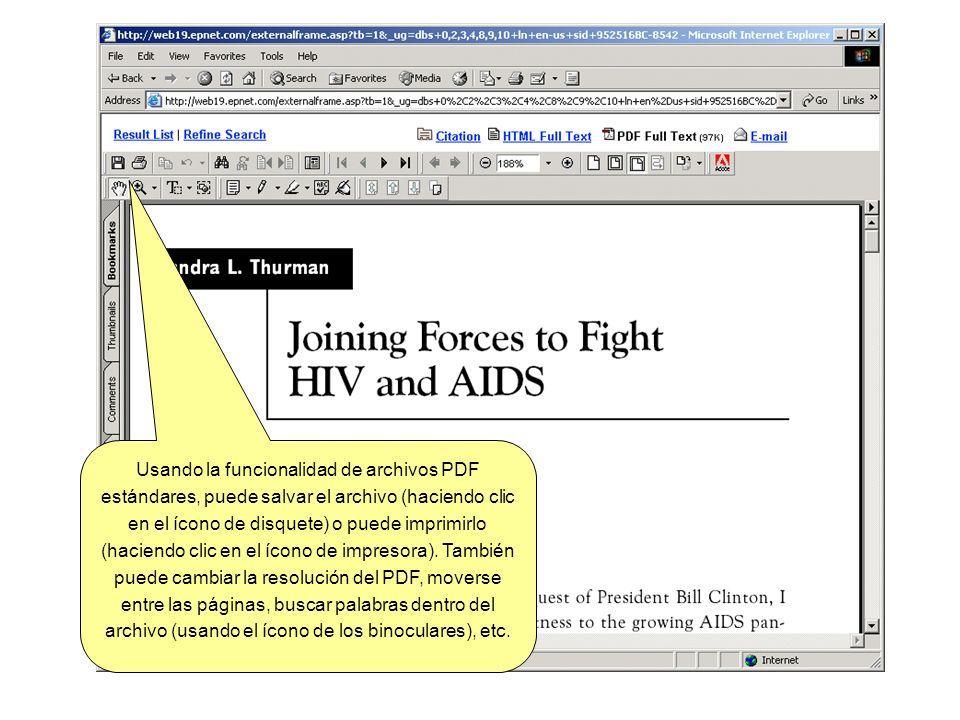 Usando la funcionalidad de archivos PDF estándares, puede salvar el archivo (haciendo clic en el ícono de disquete) o puede imprimirlo (haciendo clic