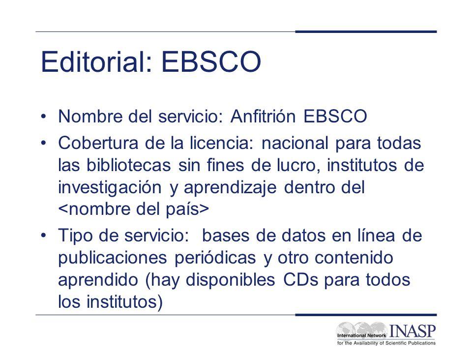 Contenido disponible EBSCO a través de PERI provee acceso a 7 bases de datos de información sobre las que se puede realizar búsquedas individualmente, en grupos seleccionados o todas juntas.