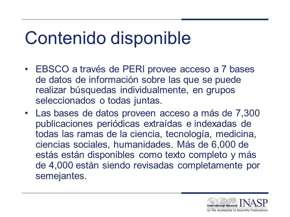 Contenido disponible EBSCO a través de PERI provee acceso a 7 bases de datos de información sobre las que se puede realizar búsquedas individualmente,