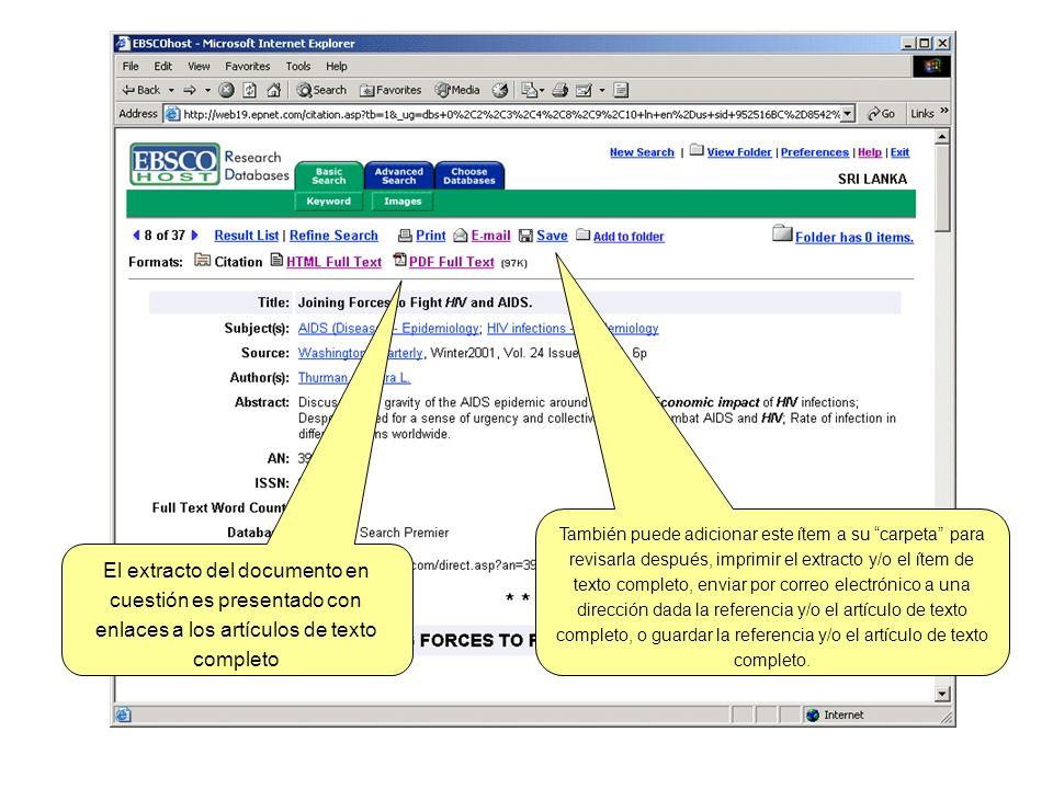 El extracto del documento en cuestión es presentado con enlaces a los artículos de texto completo También puede adicionar este ítem a su carpeta para