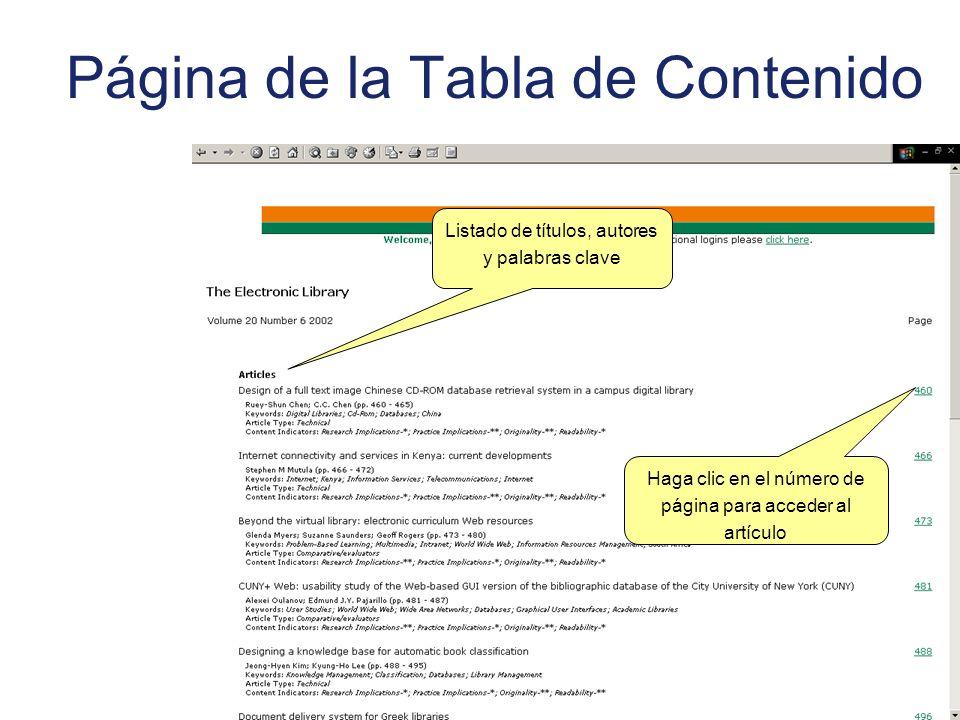Página de la Tabla de Contenido Haga clic en el número de página para acceder al artículo Listado de títulos, autores y palabras clave