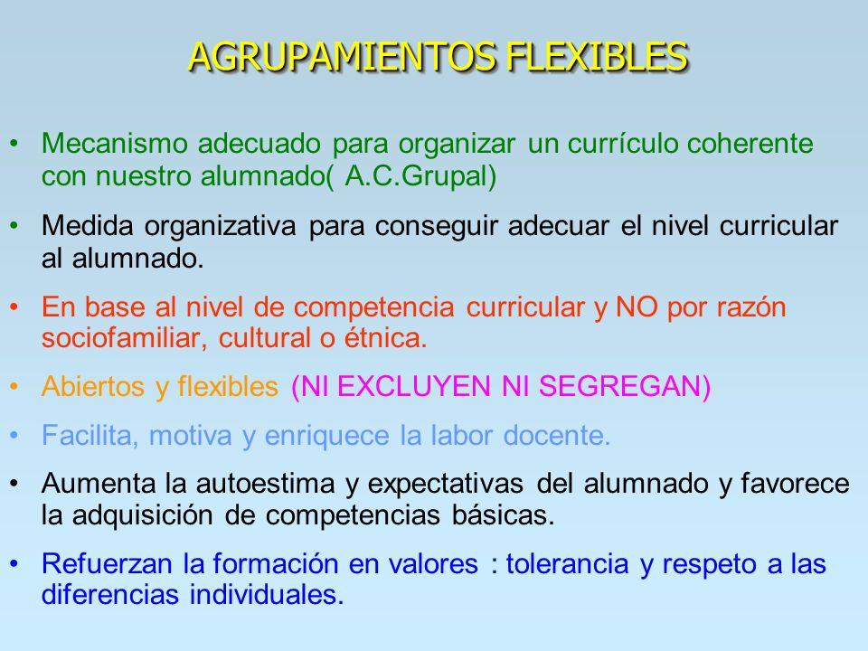 AGRUPAMIENTOS FLEXIBLES Mecanismo adecuado para organizar un currículo coherente con nuestro alumnado( A.C.Grupal) Medida organizativa para conseguir