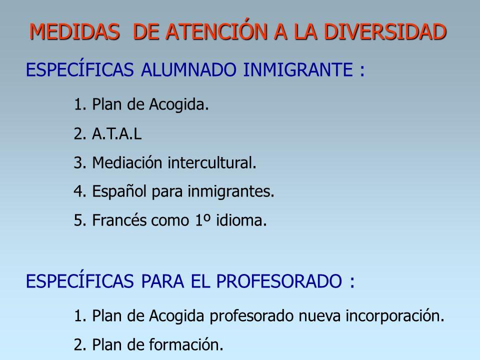 MEDIDAS DE ATENCIÓN A LA DIVERSIDAD ESPECÍFICAS ALUMNADO INMIGRANTE : 1. Plan de Acogida. 2. A.T.A.L 3. Mediación intercultural. 4. Español para inmig