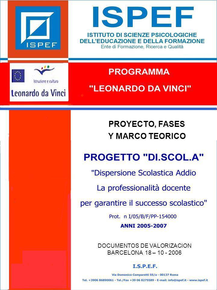 12 LAS FASES DE DI.SCOL.A PROGRAMMA LEONARDO DA VINCI PROGETTO DI.SCOL.A Prog.