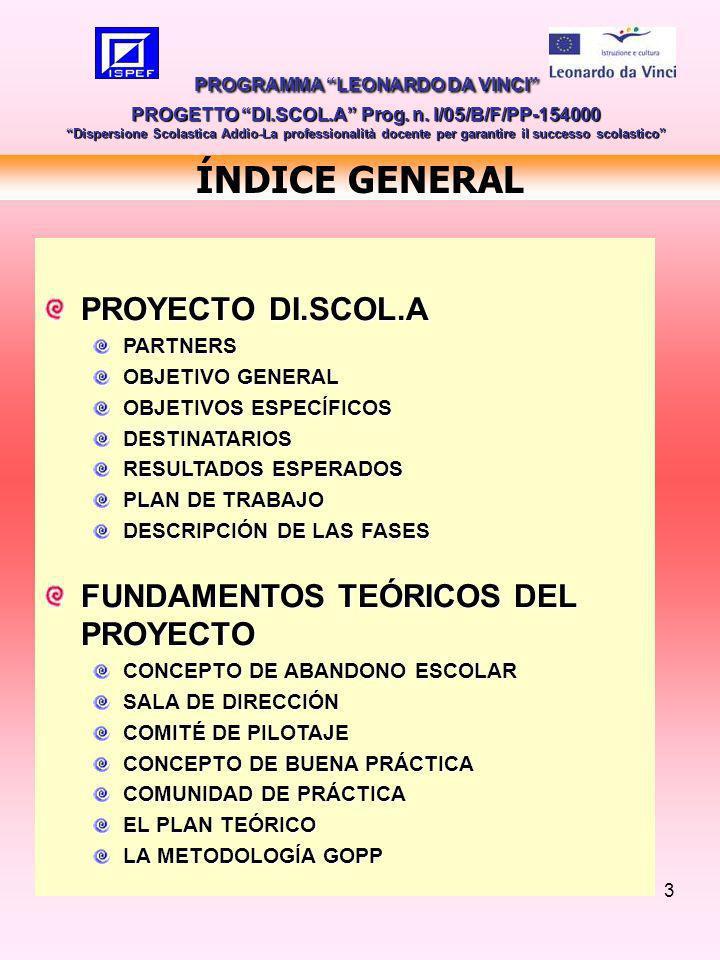 4 OBJETIVO GENERAL MEJORAR LA CALIDAD DE LA FORMACIÓN PROFESIONAL PROMOVER LA FORMACIÓN CONTINUA DOCENTE Y FORMADORES CALIDAD DE LA FORMACIÓN ESCOLAR PROGRAMMA LEONARDO DA VINCI PROGETTO DI.SCOL.A Prog.