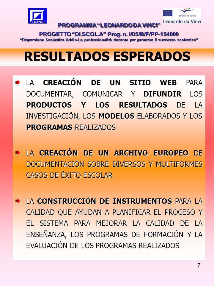 7 RESULTADOS ESPERADOS LA CREACIÓN DE UN SITIO WEB PARA DOCUMENTAR, COMUNICAR Y DIFUNDIR LOS PRODUCTOS Y LOS RESULTADOS DE LA INVESTIGACIÖN, LOS MODELOS ELABORADOS Y LOS PROGRAMAS REALIZADOS LA CREACIÓN DE UN ARCHIVO EUROPEO DE DOCUMENTACIÓN SOBRE DIVERSOS Y MULTIFORMES CASOS DE ÉXITO ESCOLAR LA CONSTRUCCIÓN DE INSTRUMENTOS PARA LA CALIDAD QUE AYUDAN A PLANIFICAR EL PROCESO Y EL SISTEMA PARA MEJORAR LA CALIDAD DE LA ENSEÑANZA, LOS PROGRAMAS DE FORMACIÓN Y LA EVALUACIÓN DE LOS PROGRAMAS REALIZADOS PROGRAMMA LEONARDO DA VINCI PROGETTO DI.SCOL.A Prog.