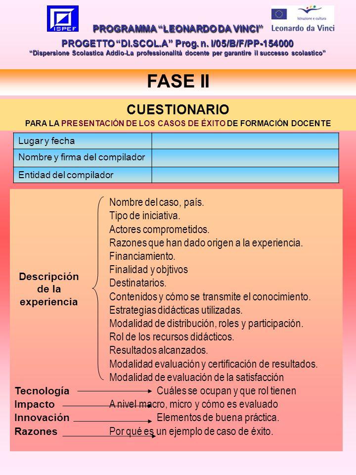 12 FASE II PROGRAMMA LEONARDO DA VINCI PROGETTO DI.SCOL.A Prog.