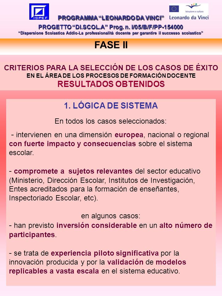 13 FASE II PROGRAMMA LEONARDO DA VINCI PROGETTO DI.SCOL.A Prog.
