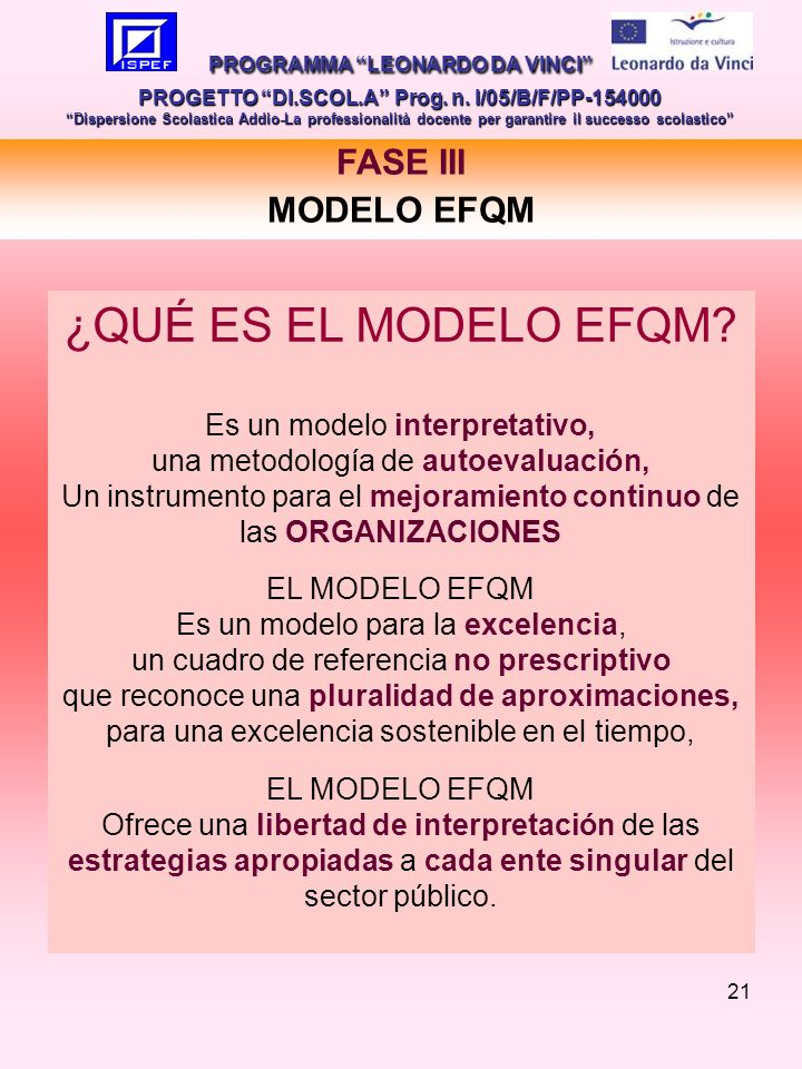 21 FASE III MODELO EFQM PROGRAMMA LEONARDO DA VINCI PROGETTO DI.SCOL.A Prog.
