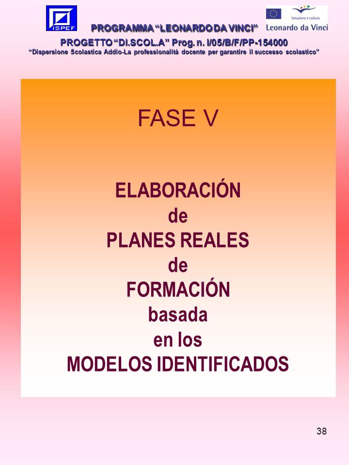 38 FASE V ELABORACIÓN de PLANES REALES de FORMACIÓN basada en los MODELOS IDENTIFICADOS PROGRAMMA LEONARDO DA VINCI PROGETTO DI.SCOL.A Prog.