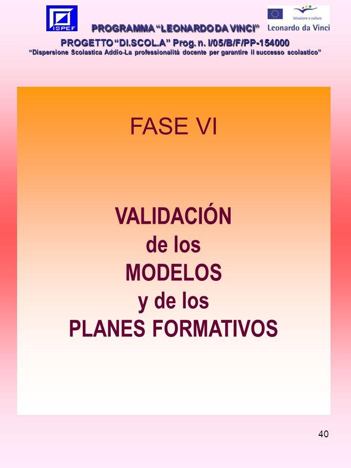 40 FASE VI VALIDACIÓN de los MODELOS y de los PLANES FORMATIVOS PROGRAMMA LEONARDO DA VINCI PROGETTO DI.SCOL.A Prog.