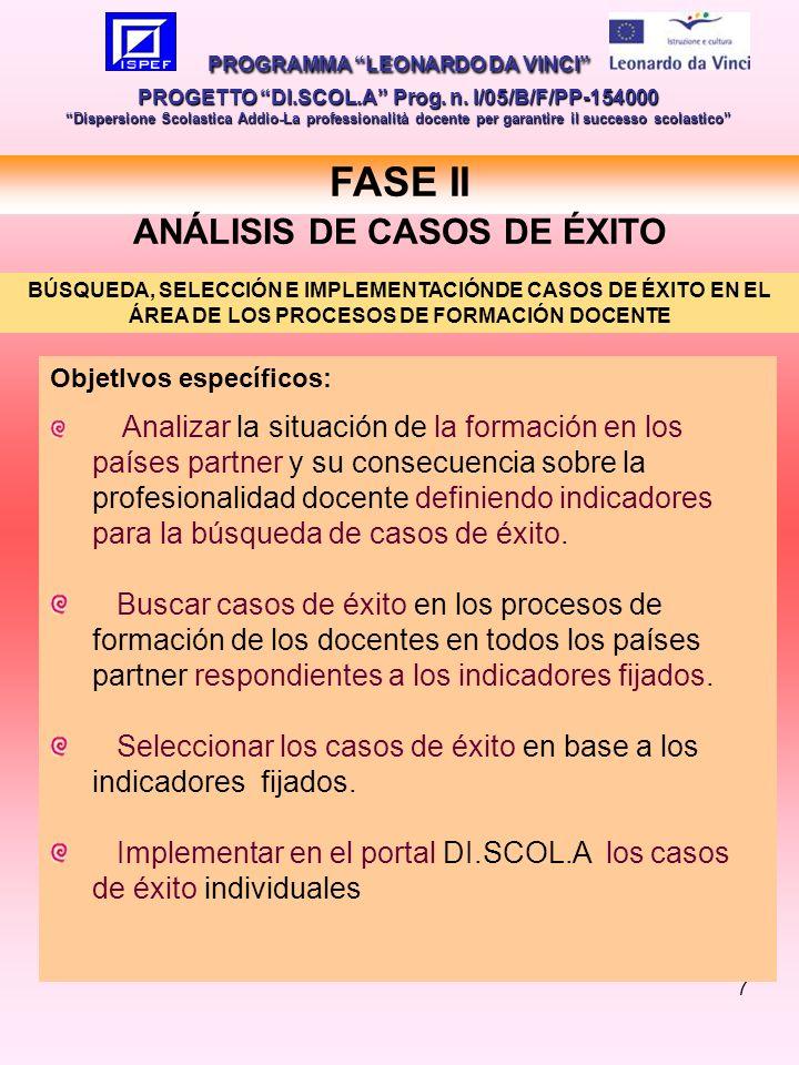 7 FASE II ANÁLISIS DE CASOS DE ÉXITO PROGRAMMA LEONARDO DA VINCI PROGETTO DI.SCOL.A Prog.