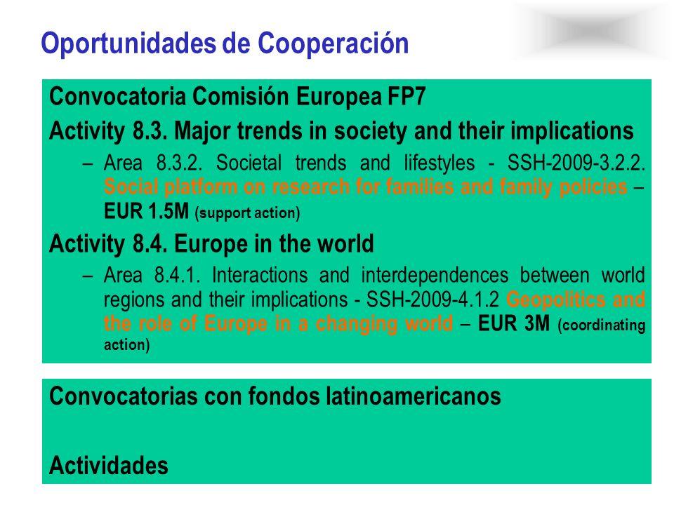 Oportunidades de Cooperación Convocatoria Comisión Europea FP7 Activity 8.3. Major trends in society and their implications –Area 8.3.2. Societal tren