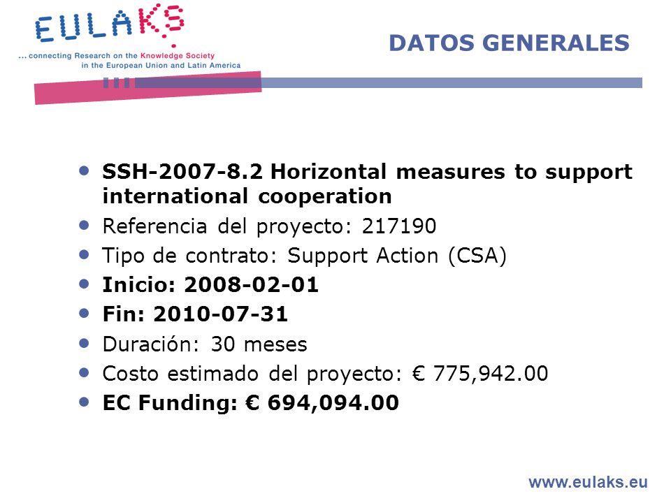 www.eulaks.eu DATOS GENERALES SSH-2007-8.2 Horizontal measures to support international cooperation Referencia del proyecto: 217190 Tipo de contrato: Support Action (CSA) Inicio: 2008-02-01 Fin: 2010-07-31 Duración: 30 meses Costo estimado del proyecto: 775,942.00 EC Funding: 694,094.00